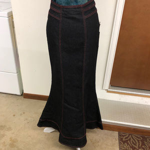 NWT Black Denim Fish-Tail Skirt